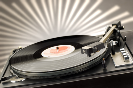 close up shot of gramophone player with backlight Stock Photo