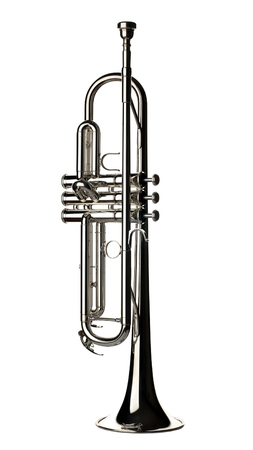 brassy: silver trumpet on white close up shoot Stock Photo