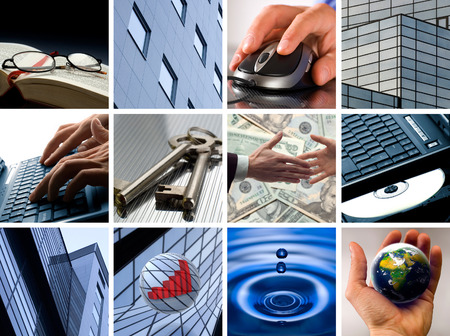 Conceptual image grid of business photos - from start to finish photo
