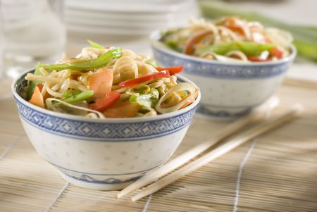 buckwheat noodle: Chinese noodles with vegetables close up shoot