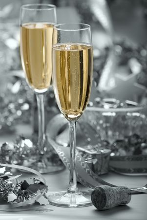 two glasses of champagne on silver background - abstract Stock Photo - 2095610