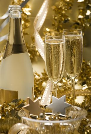 two glasses of champagne for christmas close up photo