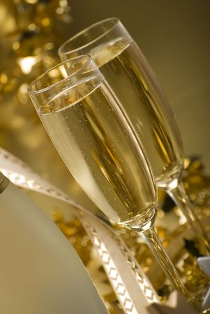two glasses of champagne for christmas close up Stock Photo - 2120790