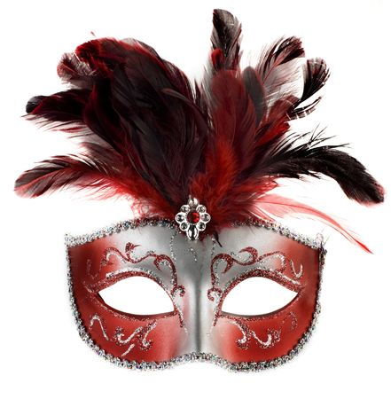venetian mask: red and silver feathered mask isolated on a white background