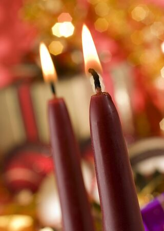 red candle close up shoot - christmas theme photo