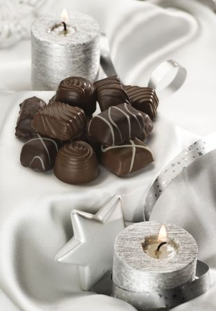 chocolate candy decorated for christmas close up photo