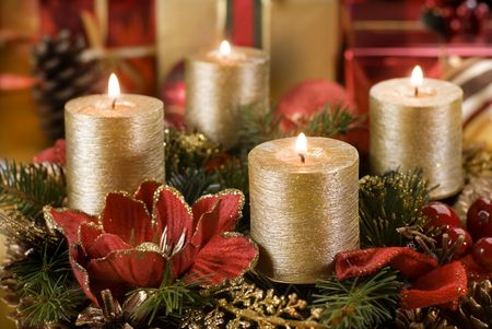 advent wreath with golden candles close up shoot photo