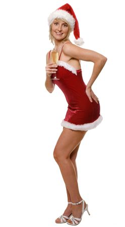 santa girl glass of champagne isolated on white