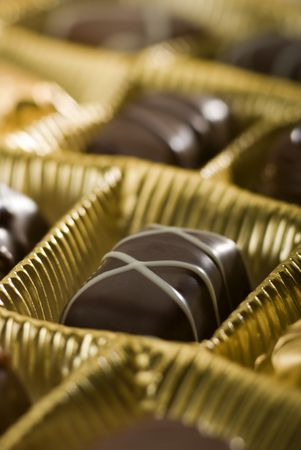 chocolate candy in box close up shoot Stock Photo