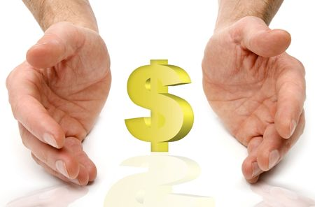 us currency between hands isolated on white close up shoot photo