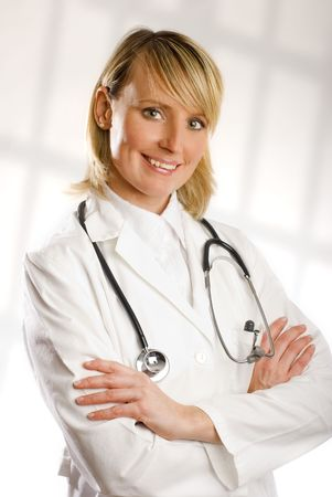 young blond female doctor portrait close up shoot photo
