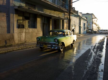and backlight: backlight green old american car in Cuba