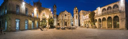 cathedrals: Plaza de la catedral in Havana vieja panoramic shoot at dusk - Cuba