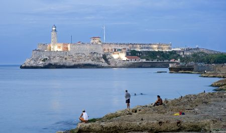 El morro castle on the oposite of malecon - cuba photo