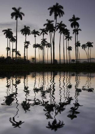 and backlight: beautiful backlight landscape with reflection in cuba