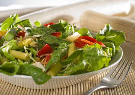 fresh colorful salad with asparagus close up shoot