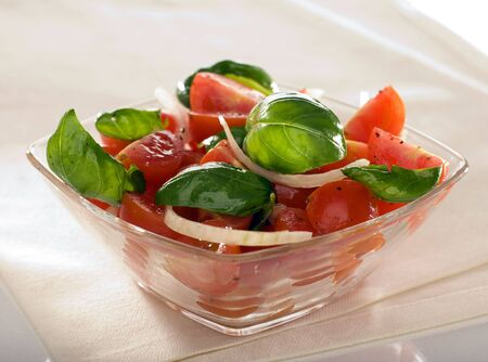 fresh salad with tomato basil and onion Stock Photo - 3061849