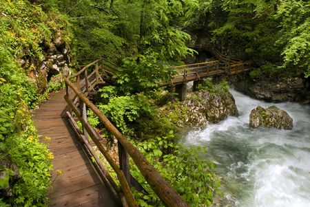 wooden path trough beautiful canyon with river photo