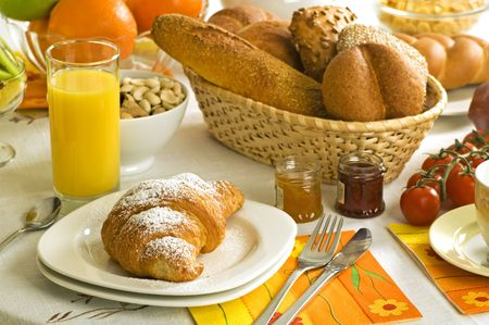 continental: continental breakfast on the table close up shoot Stock Photo