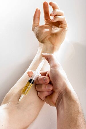 Injection of a drug in a vein close up Stock Photo - 3133189