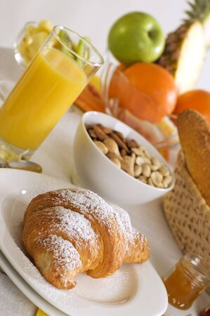 continental breakfast on the table close up shoot photo