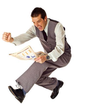 business men jumping with newspaper in hands on white - success concept