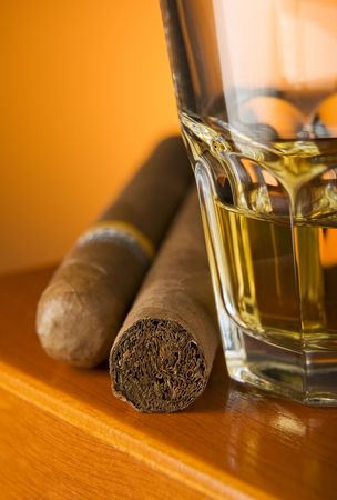 unhealthful: Cuban Cigar and Glass of Whiskey close up