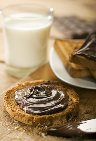 nutella: toast with nutella chocolate close up shoot
