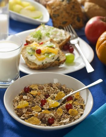 corn flakes and muesli with fruit breakfast close up Stock Photo - 3350772