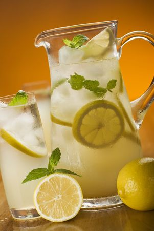 fresh lemonade with ice and mint close up Stock Photo