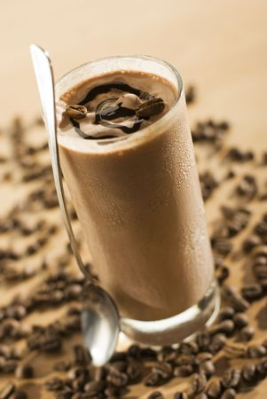 frappe: cold fresh ice coffee with chocolate close up