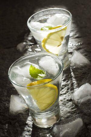 fresh vodka with lemon and ice close up photo