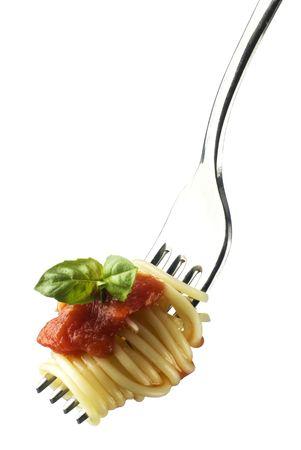 spaghetti saus: verse spaghetti op vork close-up opname  Stockfoto