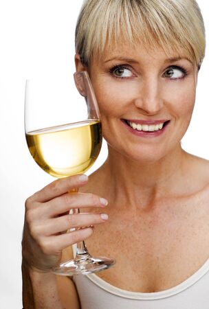 young woman holding white wine close up photo