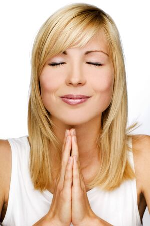 young blond woman doing yoga close up Stock Photo - 3642653