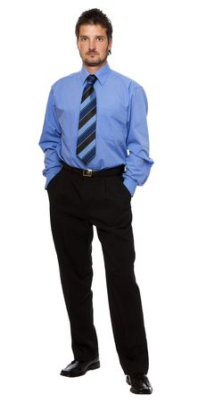 young business man standing isolated on white Stock Photo - 3750640