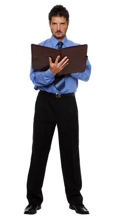 young business man with notes standing isolated on white photo