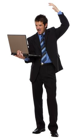 angry business man with laptop on white Stock Photo - 3750639