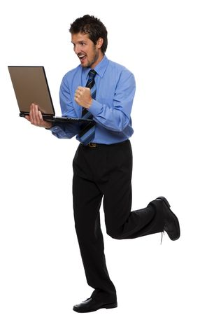 young happy business men with laptop on white photo