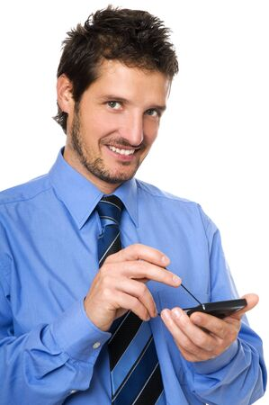 Cheerful businessman holding cellphone isolated on white Stock Photo - 3827509