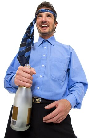 drunk party: young business men celebrating on white background