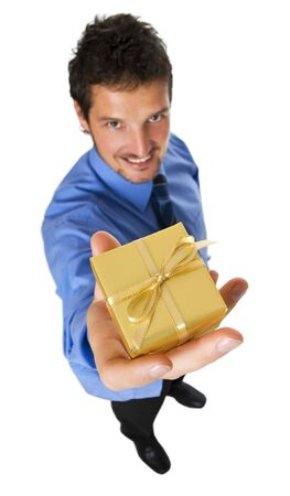 young business men with golden gift close up photo