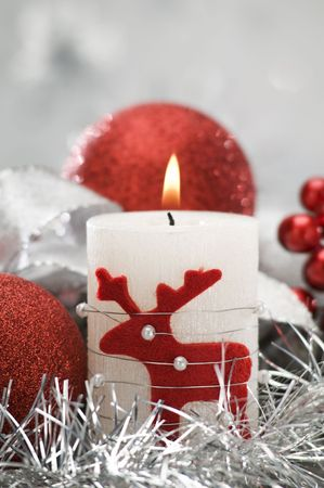 candle and christmas balls with shallow focus close up shoot photo
