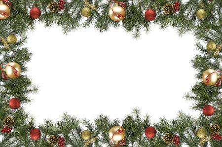 branche pin: christmas frame � partir de branche de pin blanc et ornements