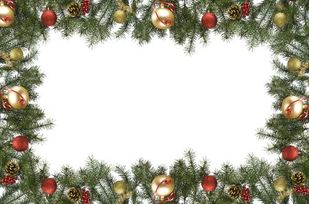 pine branch: christmas frame made from pine branch and ornaments on white Stock Photo