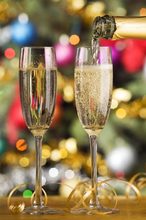 two glasses of champagne close up shoot photo