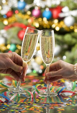 new year toast with champagne close up shoot photo