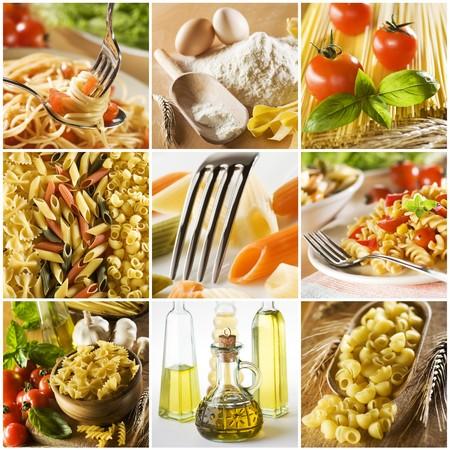 beautiful pasta collage made from nine photgraphs photo