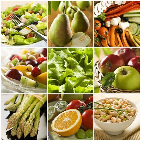 prepared food: healthy vegetables and fruit food - collage Stock Photo