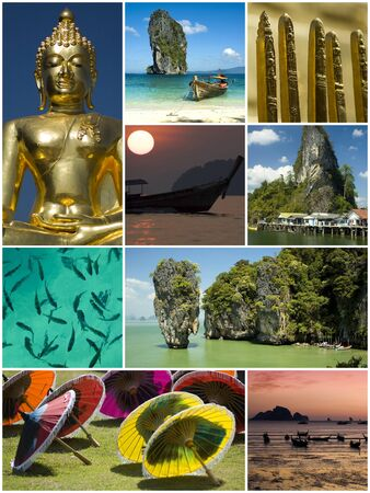 thailand theme collage made from nine photographs